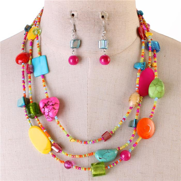 Three Layers Multi Color Lucite Bead Patina Style Bead Necklace Earring Set
